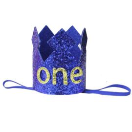 Haarband kroon kobaltblauw One