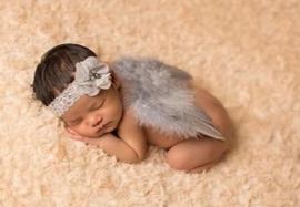 Newborn engelen vleugels grijs + haarband
