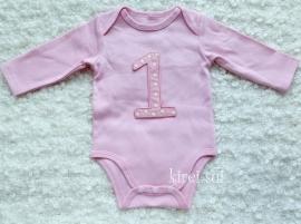 Baby romper roze 1 jaar stippen lange mouw