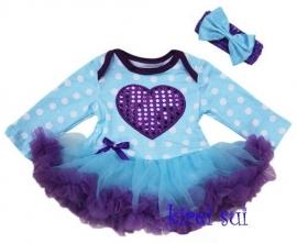 Jurk paars/blauw hart longsleeve + haarband