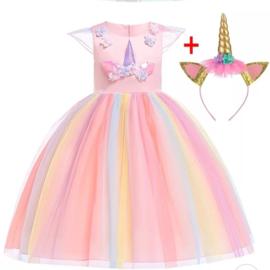 Knielange Unicorn jurk roze + diadeem