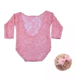 Newborn kanten pakje blosjes roze + haarband *