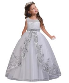Elegante jurk wit met zilver