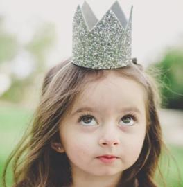 Haarband kroon zilver, geen getal *