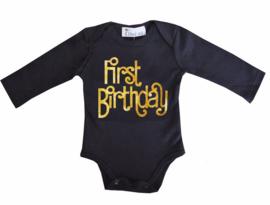 First Birthday lang/korte mouw zwart