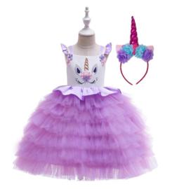 Unicorn jurk PAARS rouches + diadeem