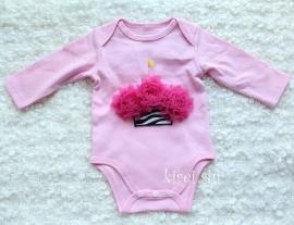 Baby romper roze Cupcake zebra pink lange mouw