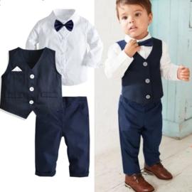 Jongens outfit met gilet en strik, blauw (4-delig)