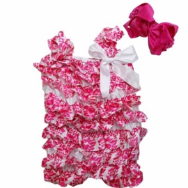 Baby Jumpsuit Barok wit & roze haarband