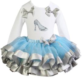 Tutu Satijn set prinsessenschoen lang/korte mouw blauw