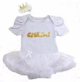 Babyjurk Cheer! lang/korte mouw wit + haarclip kroon