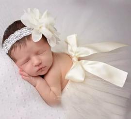Newborn tutu + haarband kant, creme