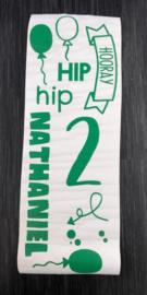 Raam-muur sticker verjaardag met naam -Hip hip Hooray !