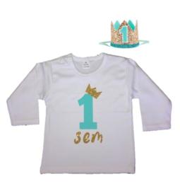 Shirt jongen getal 1 mint-goud met naam + kroon