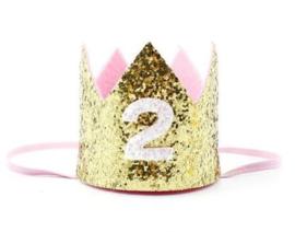 Haarband kroon goud glitter 2 jaar