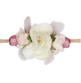 Haarband bloemen WIT/ROZE