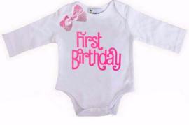 First Birthday lang/korte mouw