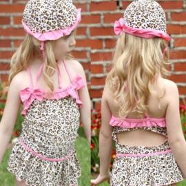 Badpak roze luipaard print/glitters (110/116)