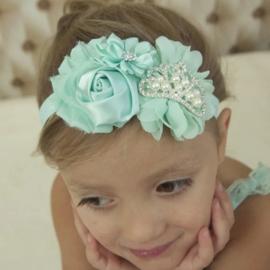 Haarband MINT met bloemen en pareltjes