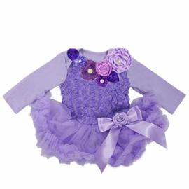 Babyjurk met roosjes LUXE lavendel lang/zonder mouw
