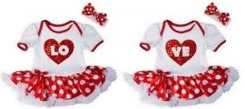 Tweeling jurken LOVE + haarbanden