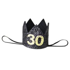 Haarband kroon 30 jaar zwart
