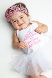 Babyjurk tutu wit Litlle Princess has finally arrived + haarband