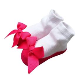 Baby sokjes pink strik (12-24 mnd)