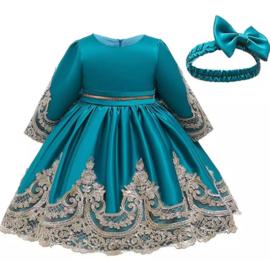 Winter feestjurk turquoise met haarband