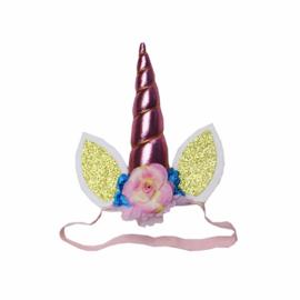 Unicorn haarband roze