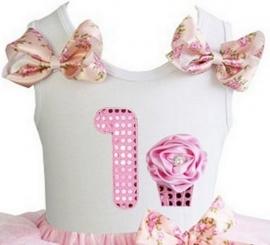 Top 1 jaar glitter roze cupcake