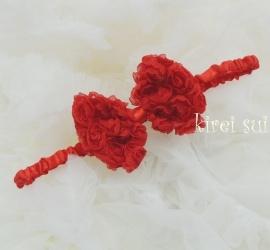 Haarband strik roosjes rood