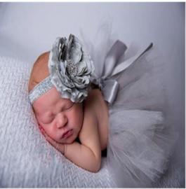 Newborn tutu grijs + haarband