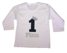 Shirt jongen getal 1 t/m 5 zwart-zilver met naam