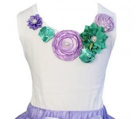 Top Lucite Green/Violet satijnen roosjes