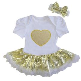 Babyjurk Hart goud glitter + haarband