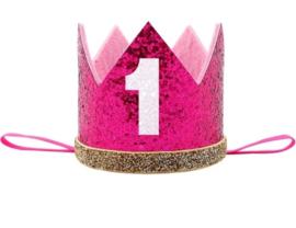 Haarband kroon pink 1 jaar *