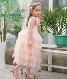 Lange romantisch jurk kant, zonder mouw roze
