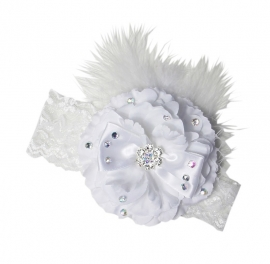 Haarband  Veren/Pioenroos/steentjes/kant Wit