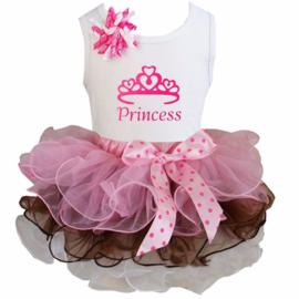 Tutu Satijn set Princess roze/chocolade