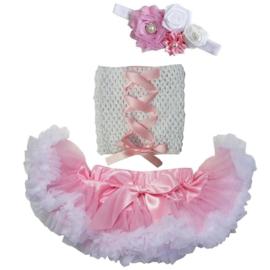 Pettiskirt Roze/wit + gehaakte top met lint + haarband