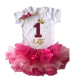 Verjaardag set 1 jaar tutu 3 laags pink + naam + haarband (3-delig)