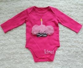 Baby romper pink Cupcake zebra roze lange mouw