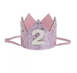 Haarband kroon roze 2 jaar