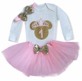 Minnie Mouse verjaardagset roze 1 jaar (3-delig)