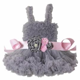 Feestelijke kinderjurk grijs + luxe riem
