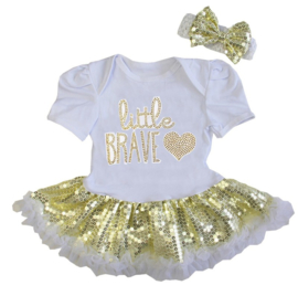 Babyjurk Little Brave goud glitter + haarband