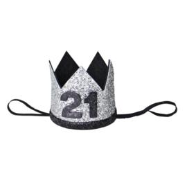 Haarband kroon 21 jaar zilver