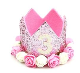 Haarband kroon glitter roze 3 jaar