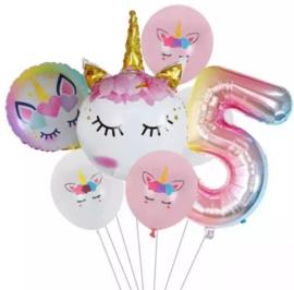 Folie ballonnen Unicorn 5 jaar (7-delig)